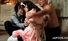 Asian threesome with teen maid turned into sex slave in