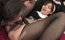 Cute nun in black stockings getting fingered by two priests