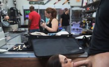 Brunette Flight Attendant Sucks Dick Behind Counter In Shop